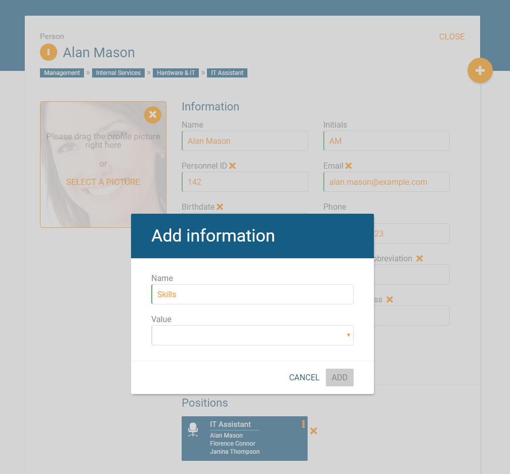Mitarbeiterdaten um Datenfeld