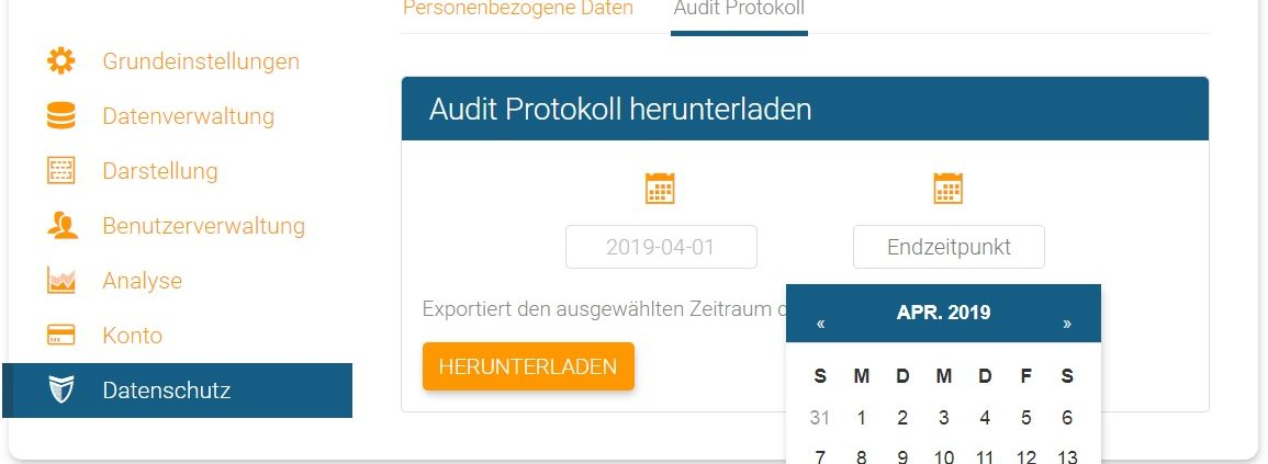 Audit Protokoll Start- und Endpunkt in orginio festlegen